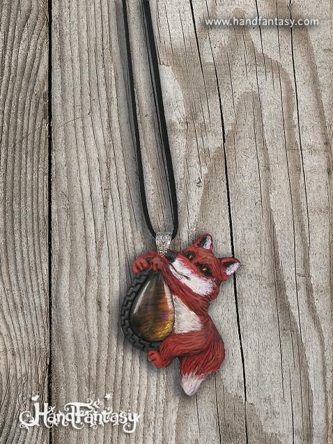 Colgante Labradorita. Colgante zorro, tótem zorro, collar zorro, Collar de tótem, Colgante de animal espiritual, Collar piedra Tótem