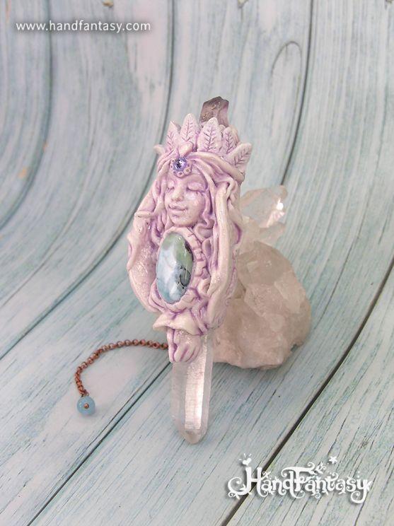 Péndulo Diosa, Péndulo Cuarzo, péndulo artesanal, péndulo personalizado con cristales