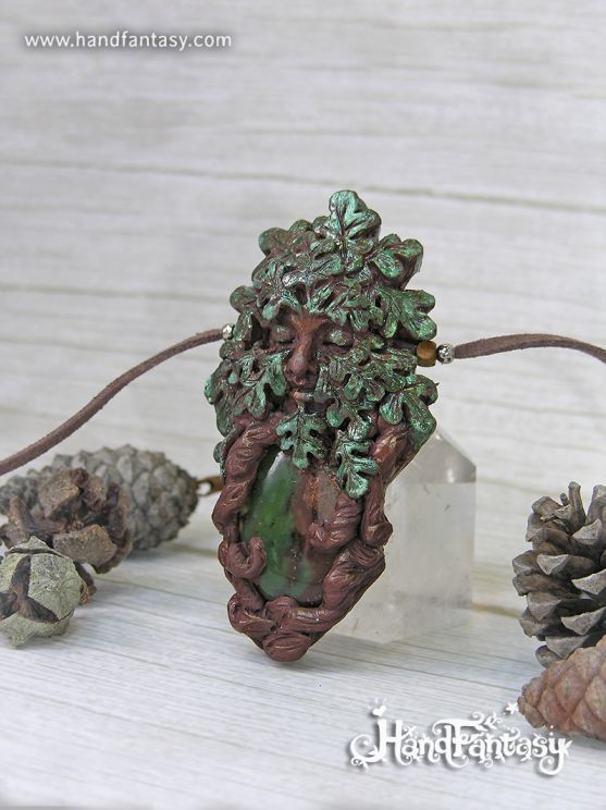 Colgante Greenman, Colgante hombre verde con Crisoprasa, dioses Celtas