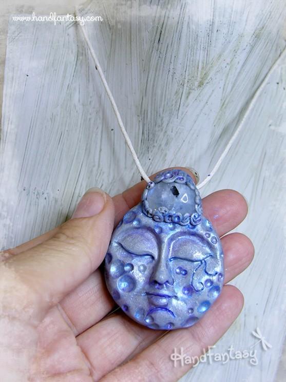 Colgante Luna llena, Colgante con Piedra Luna, Collar Luna Llena plata