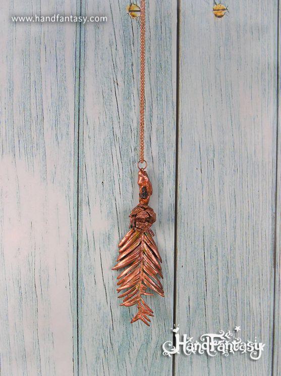 Colgante Secoya roja, Sequoia, Colgante Secoya bañada en Cobre, hojas naturales