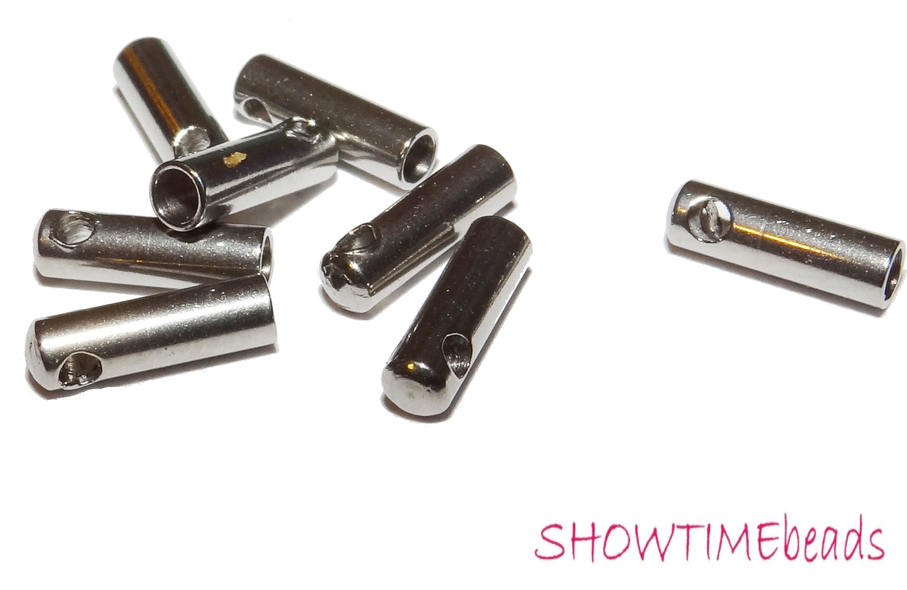 15x4mm silber Edelstahl Ohrstecker-Rohling 2 Stück