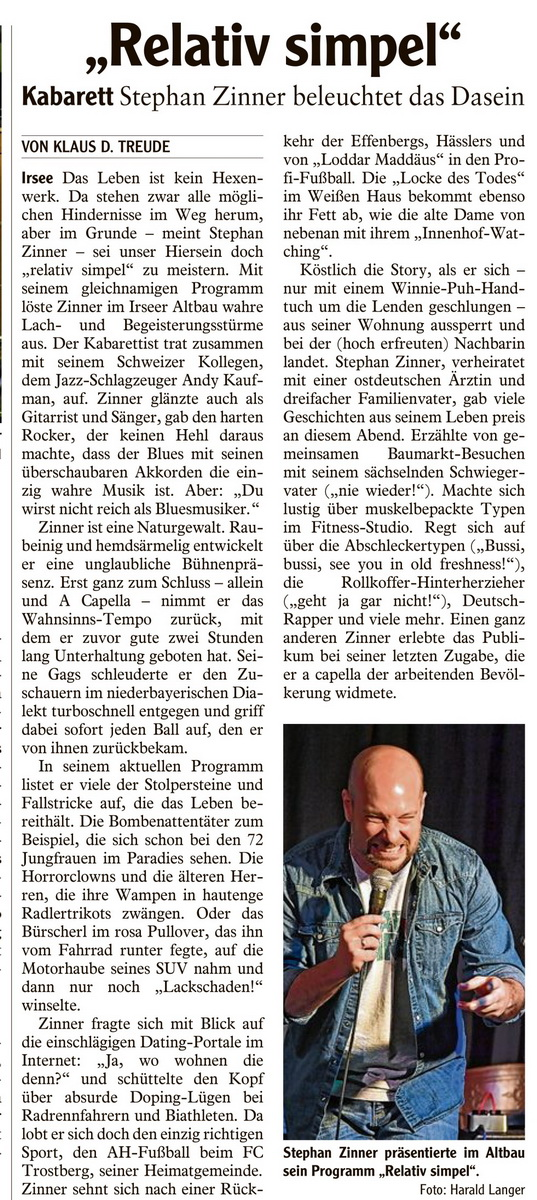 Kleinkunstverein Altbau e.V. - Presse Stephan Zinner