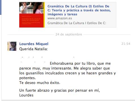Opinión de Lourdes Miquel en Facebook