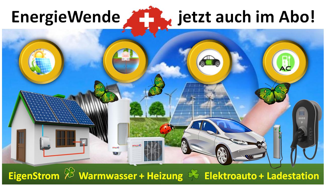 EnergieWende im Monats-Abo: EigenStrom von der Sonne, mit Wärmepumpen Warmwasser und Wärme erzeugen und dem eAuto mit EigenEnergie mobil sein