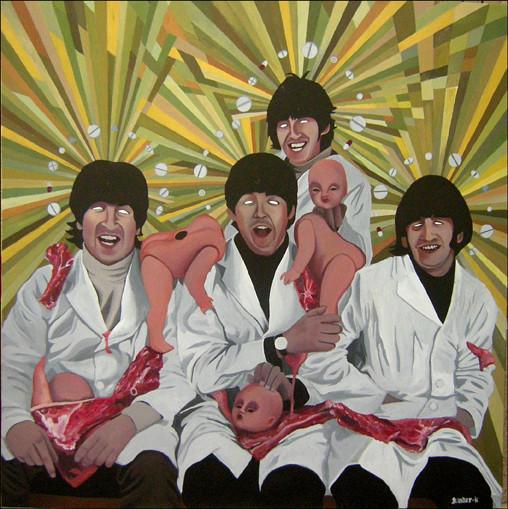 """""""Beatles"""" / Toile réalisée pour l'exposition collective """"Musica Loca"""" / Acrylique sur toile / 70x70 cm / Kinder-k 2011"""