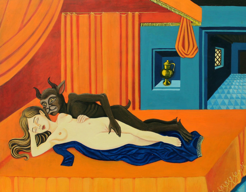 Scène nocture (Le diable amoureux) acryilique sur bois, 21,7x27,5 cm, Kinder-k 2015