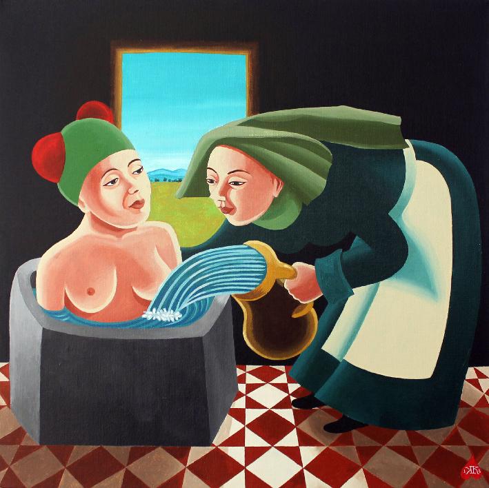 """""""Le bain"""" Acrylique sur toile, 40x40 cm, Kinder-k 2018"""