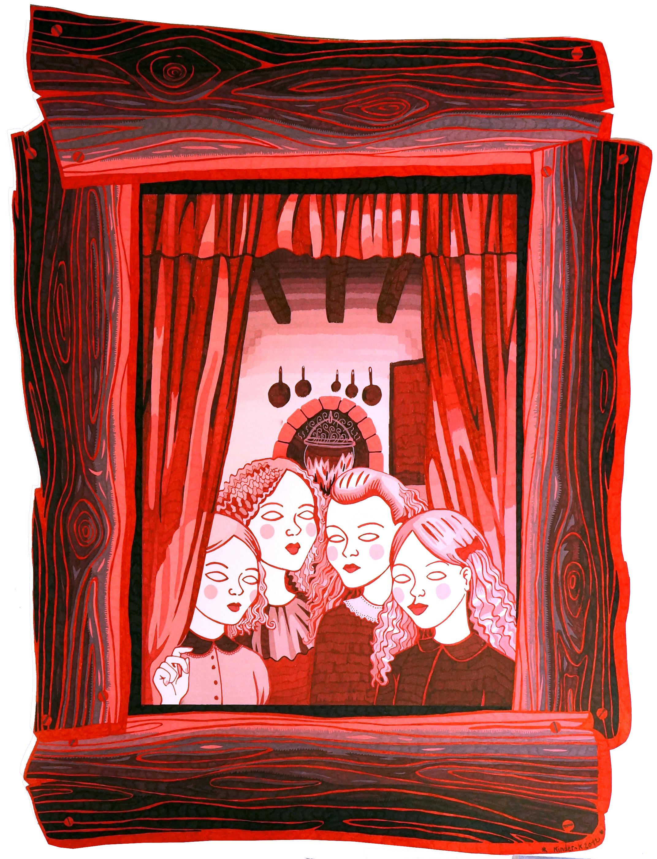 """PSYCHODRAME DANS LA CABANE /// """"Petites filles à la fenêtre"""" / Encre sur papier / 70x50 cm / Kinder-k 2012"""