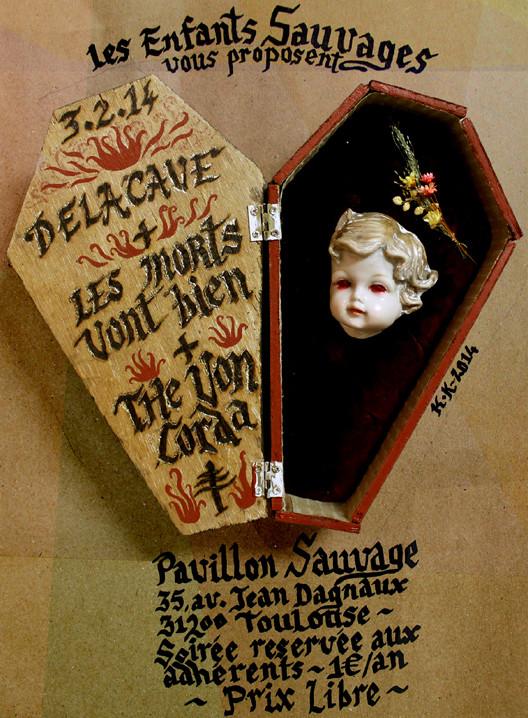 Affiche de concert / Photographie / Bois, carton, velours, pyrogravure, feuille d'or... / 42x29,7 cm / Kinder-k 2014