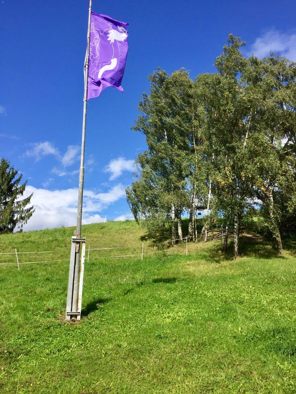 Zentrum für Pferdegesundheit: Eingang mit Fahne