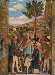 """In den Fresken der Hochzeitssuite des Palazzo Ducale dei Gonzaga di Mantova, welche im Jahre 1456 von Andrea Mantegna geschaffen wurden, wird in der Szene """"Das Treffen"""" an den Füßen des Marchese Lodovico Gonzaga ein Hund dargestellt."""