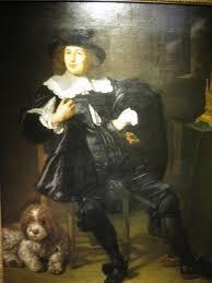 """Portrait eines Mannes, wahrscheinlich ein """"Marktman"""", Joan Hulft (1610-1677), mit seinem Hund."""