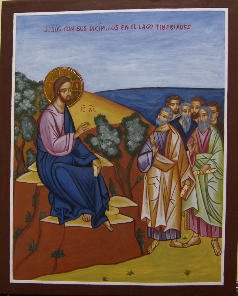 JESUS CON SUS DISCIPULOS EN EL LAGO TIBERIADES  39 X 31   400 €