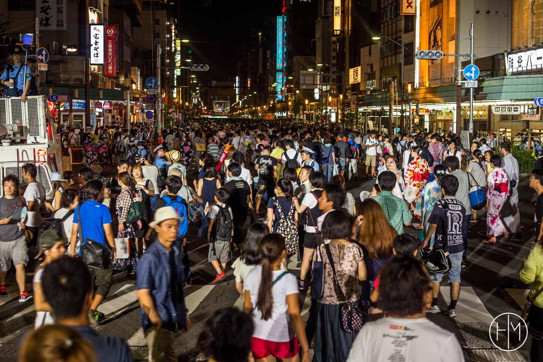 Après le feu d'artifice à Tokyo