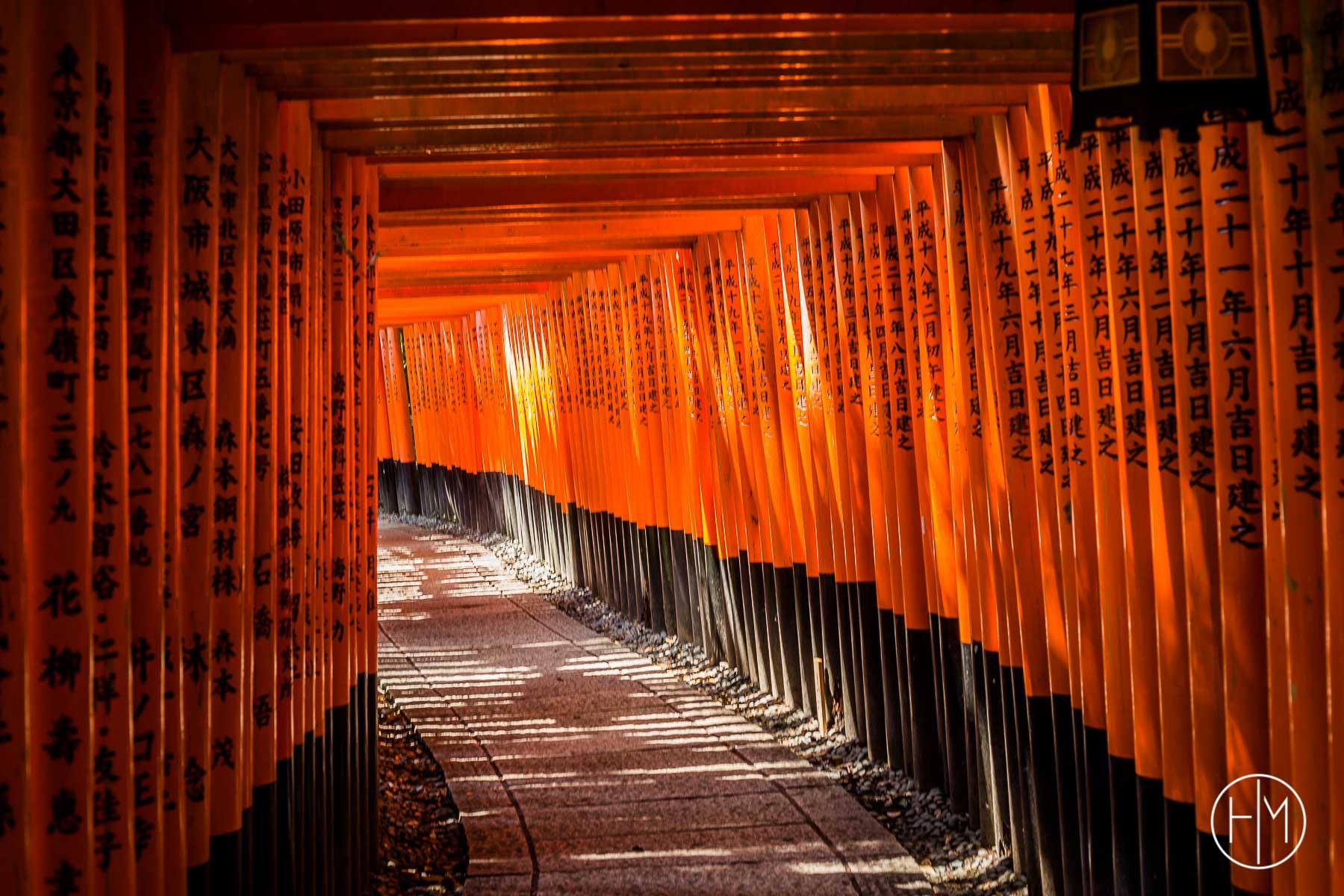 Tunnel de Torii au temple Fushimi Inari Kyoto