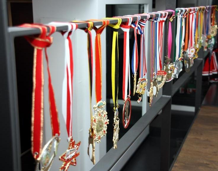 Eine Ausbeute von rund 50 Orden sind in Prinzessin Xenias Amtszeit 2014/15 zusammengekommen.In der Karnevalszeit schmücken sie das Treppengeländer.