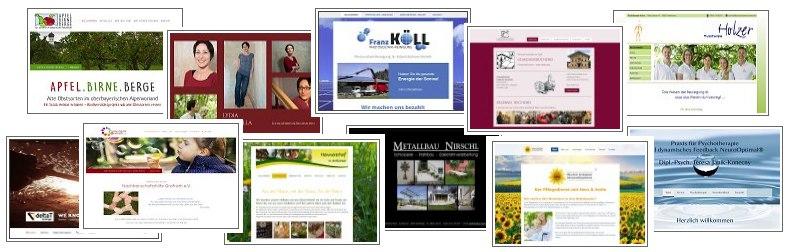 Zahlreiche Beispiele von Refernenzen von Webdesign Weidl