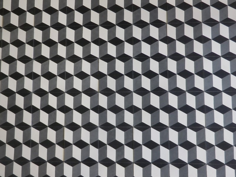 carreaux de ciment 3D - motif cube