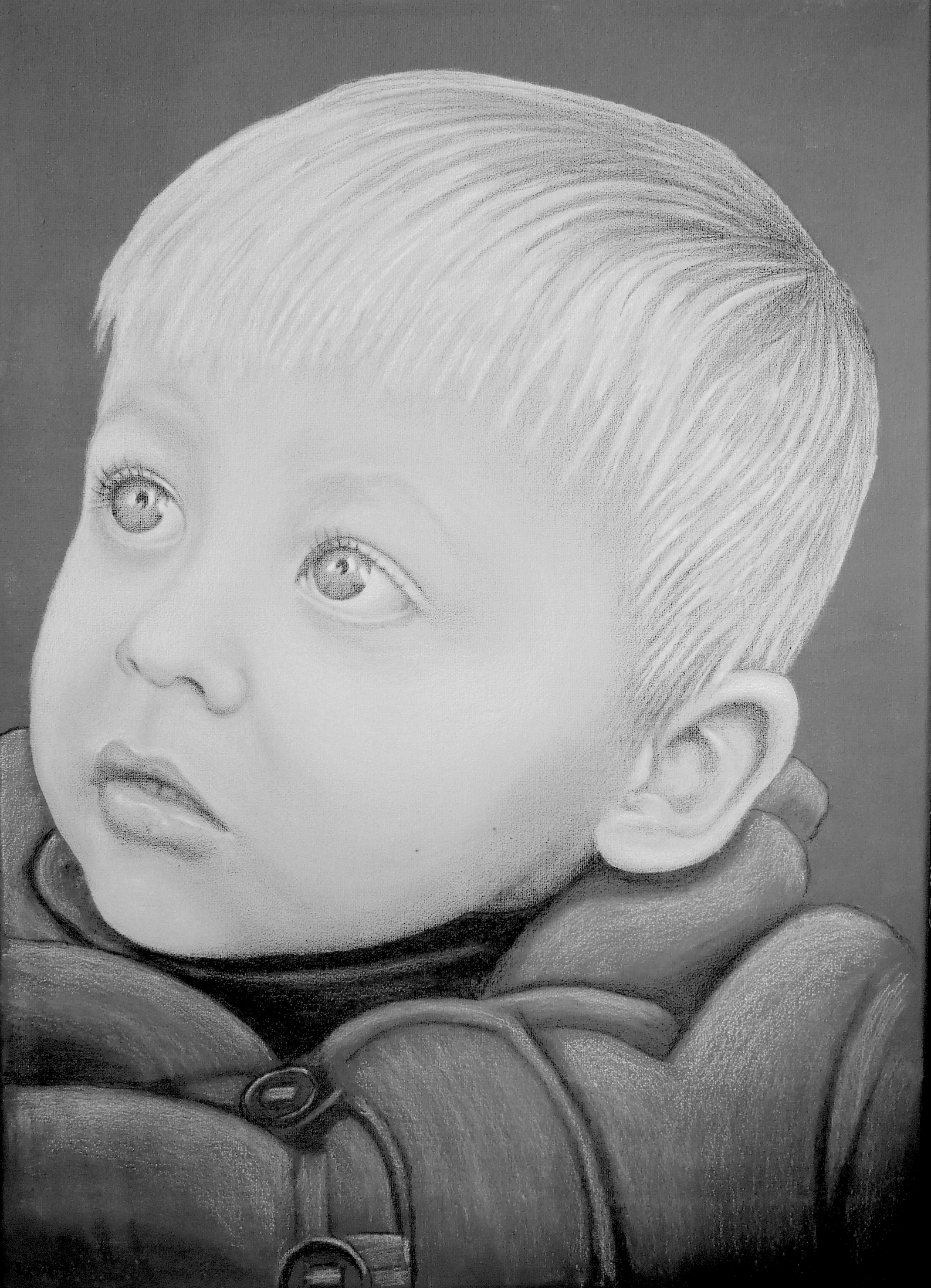 Jamie, 70x50 cm, Farbstifte auf Acryl, Leinwand