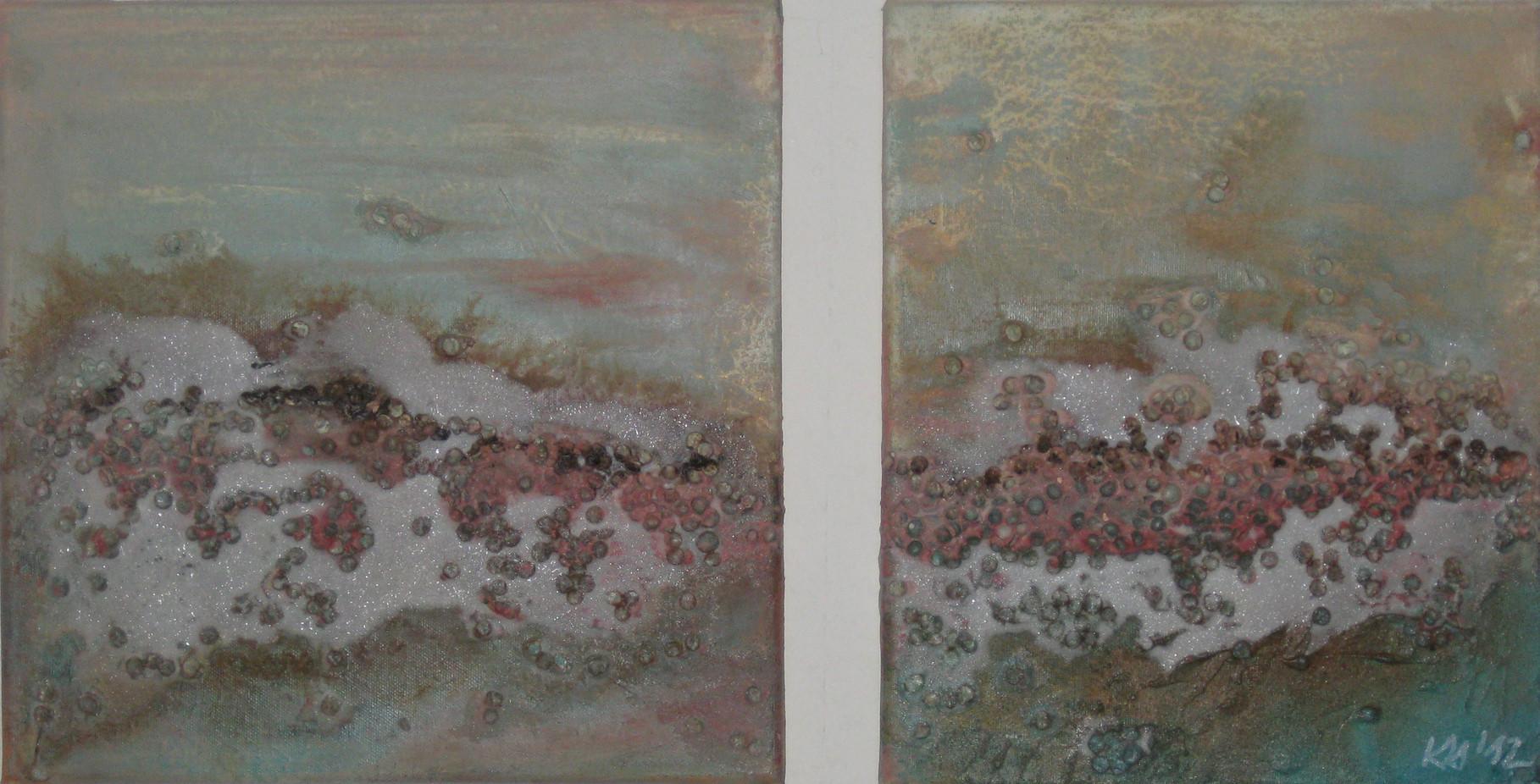 """2012-13 / """"Der Fluss"""" / Eine Komposition aus 2 Bildern 40 x 40 cm und 40 x 30 cm"""