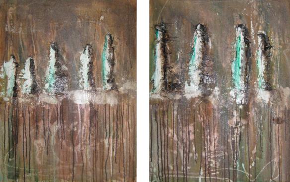"""2014-04 (2 Bilder) / """"Die Gruppe"""" / jeweils 60 x 80 cm"""