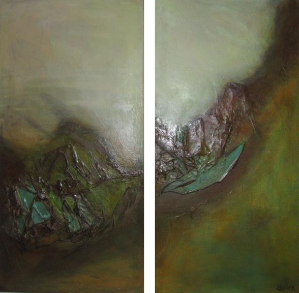 """2013-11 / (2 Bilder) """"Oxidation IV"""" / jeweils 40 x 80 cm"""
