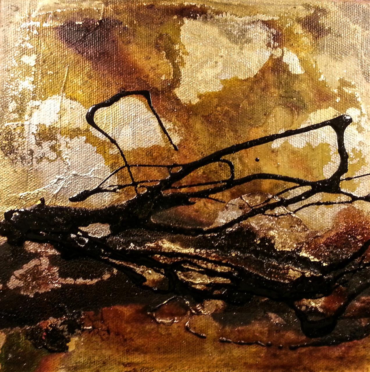 """2015-03 (1 von 3 Bilder) / """"Goldfluss II"""" / 20 x 20 cm"""