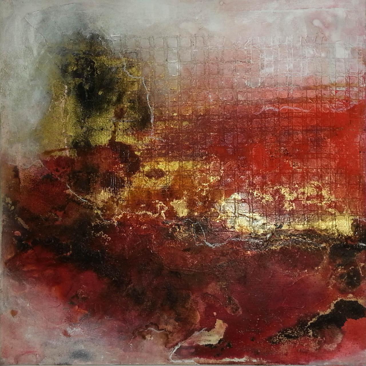 """2015-17 / (1 von 2 Bilder) """"Rosso I"""" / 50 x 50 cm"""