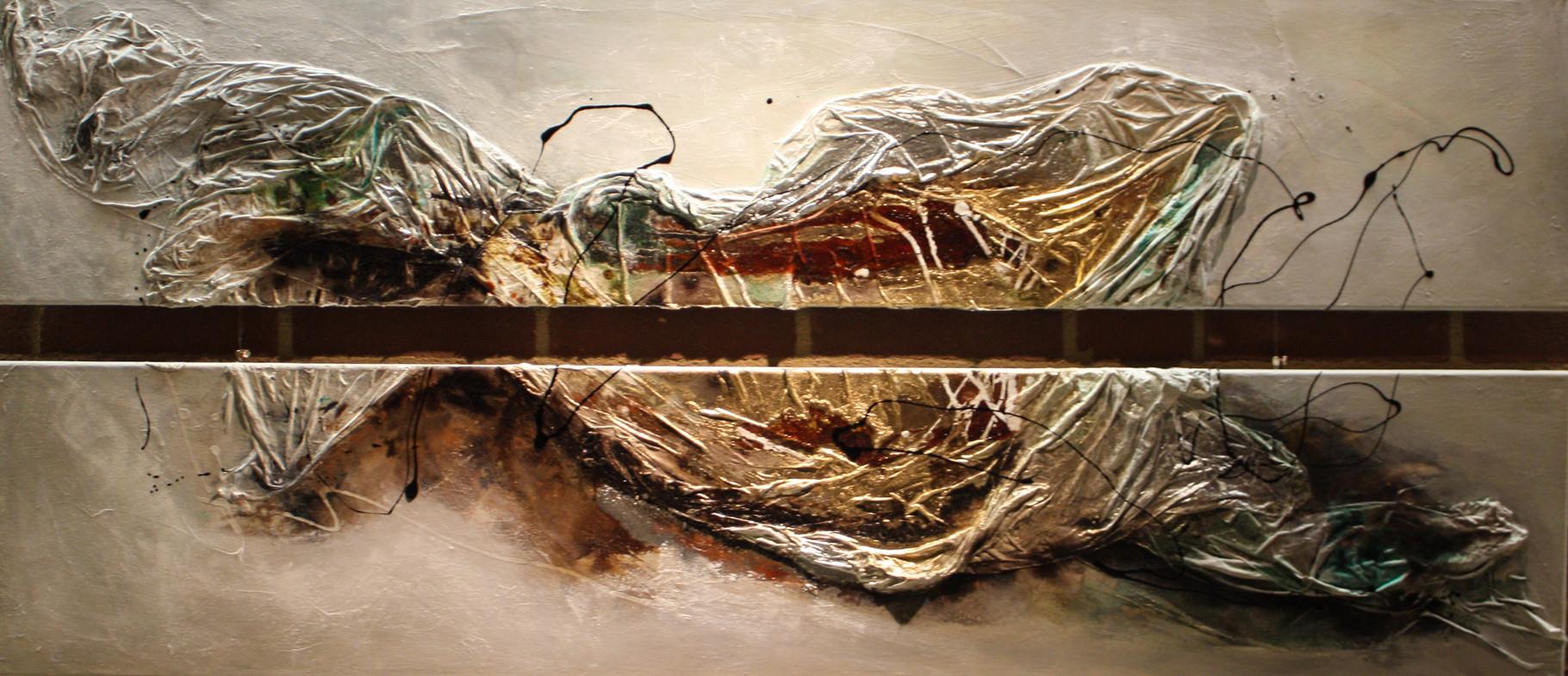 """2015-11 (2 Bilder) / """"Der gold/ grüne Fluss"""" / jeweils 30 x 150 cm"""