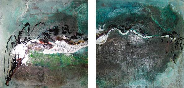 """2014-01 (2 Bilder ) / """"Farbfluss I"""" / jeweils 40 x 40 cm"""