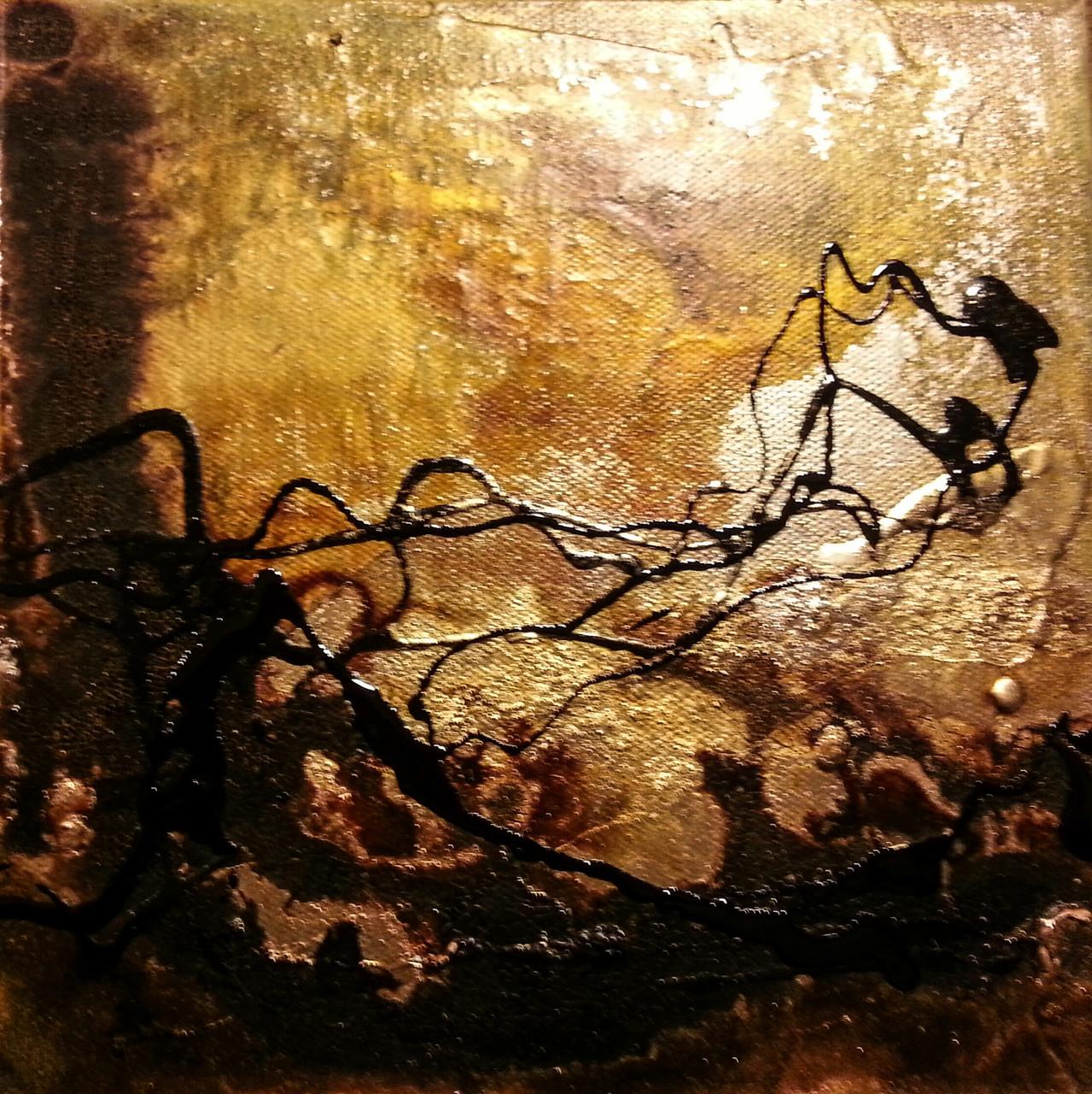 """2015-03 (3 von 3 Bilder) / """"Goldfluss II"""" / 20 x 20 cm"""