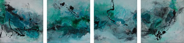 """2016-09 / (4 Bilder) """"Schellack II"""" / jeweils 20 x 20 cm"""
