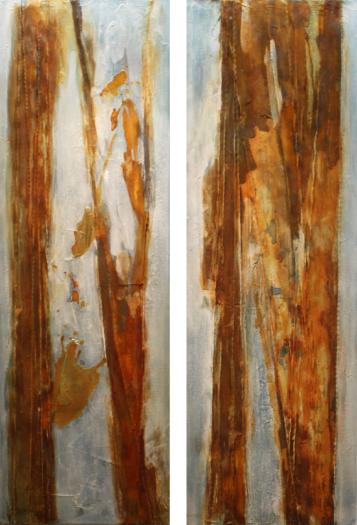 """2015-10 ( 2 Bilder) / """"Treibholz"""" / jeweils 40 x 120 cm"""