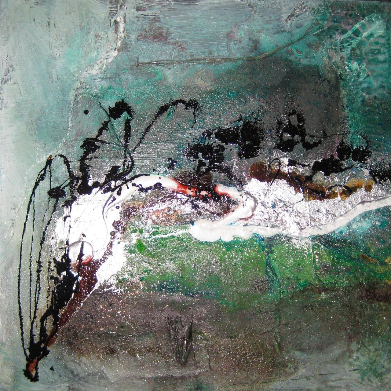 """2014-01 (1 von 2 Bilder ) / """"Farbfluss I"""" / 40 x 40 cm"""