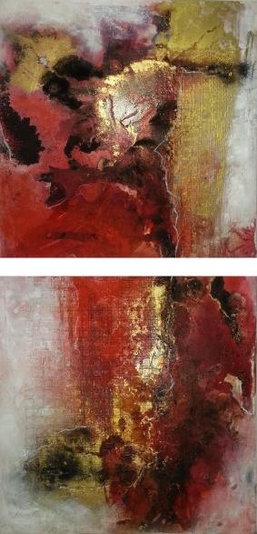 "2015-17 / (2 Bilder) ""Rosso I"" / jeweils 50 x 50 cm"