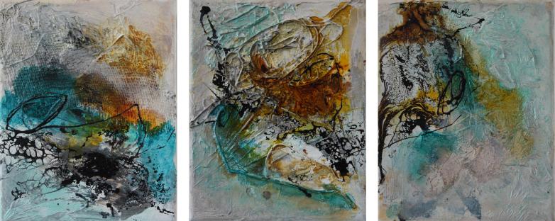 """2016-07 / (3 Bilder) """"Schellack I"""" / jeweils 25 x 30 cm"""