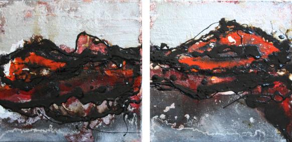 """2014-16 (2 Bilder) / """"Im Fluss"""" / jeweils 20 x 20 cm"""