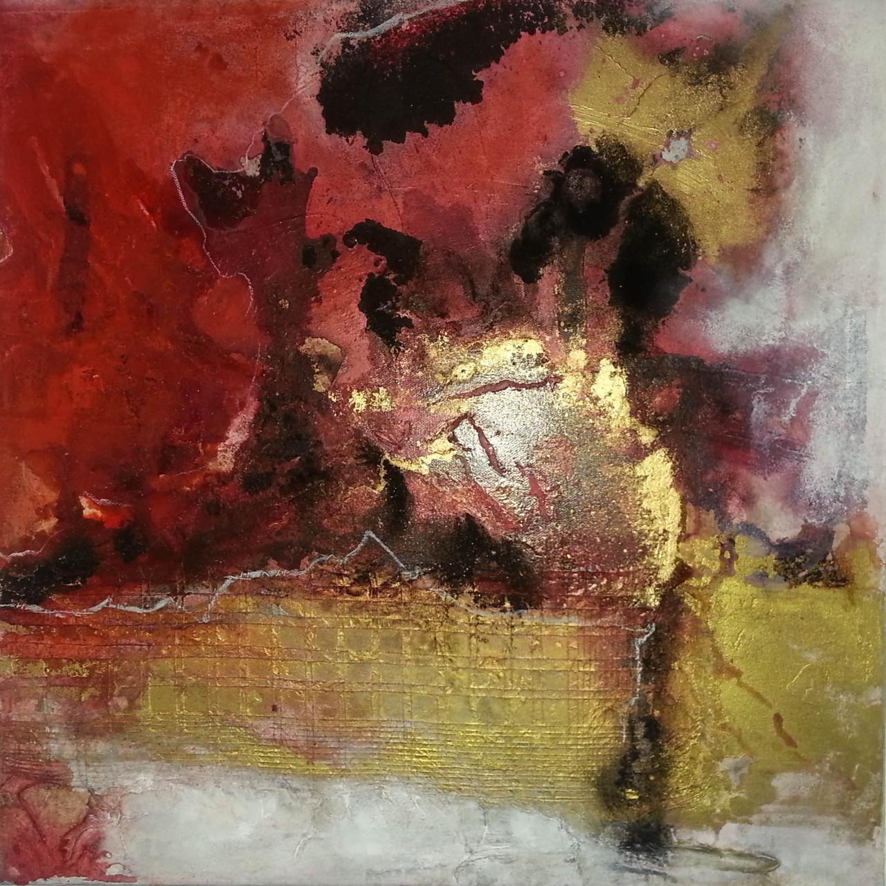 """2015-17 / (2 von 2 Bilder) """"Rosso I"""" / 50 x 50 cm"""