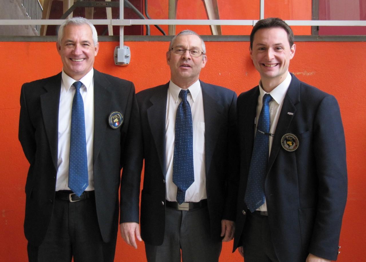 Jean-Paul 6e DAN, Joel 2er DAN, Sébastien 5e DAN (actuellement mais photo prise en janvier 2013