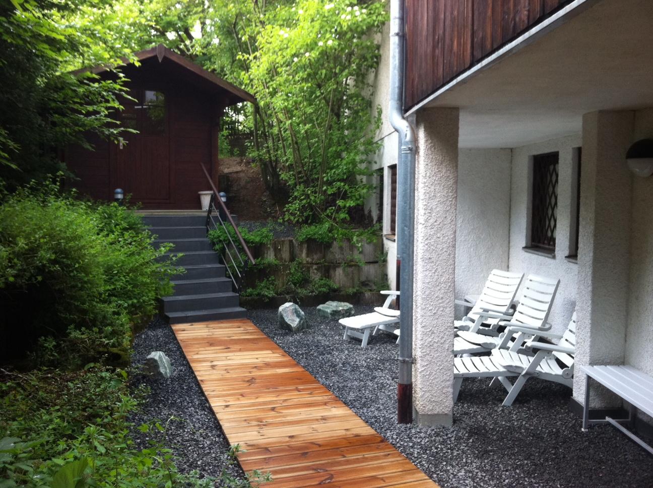 Blockhaus-Sauna im Freien