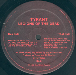 BRC 1953 - Tyrant - Legions of the Dead - Banzai Records