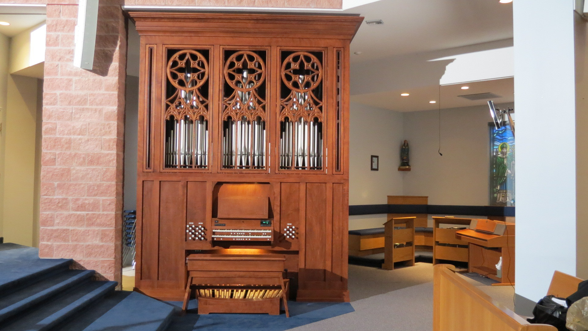 The nine-rank Inspiration Organ with attached console, installed in Immaculate Conception Church in Port Perry, Ontario
