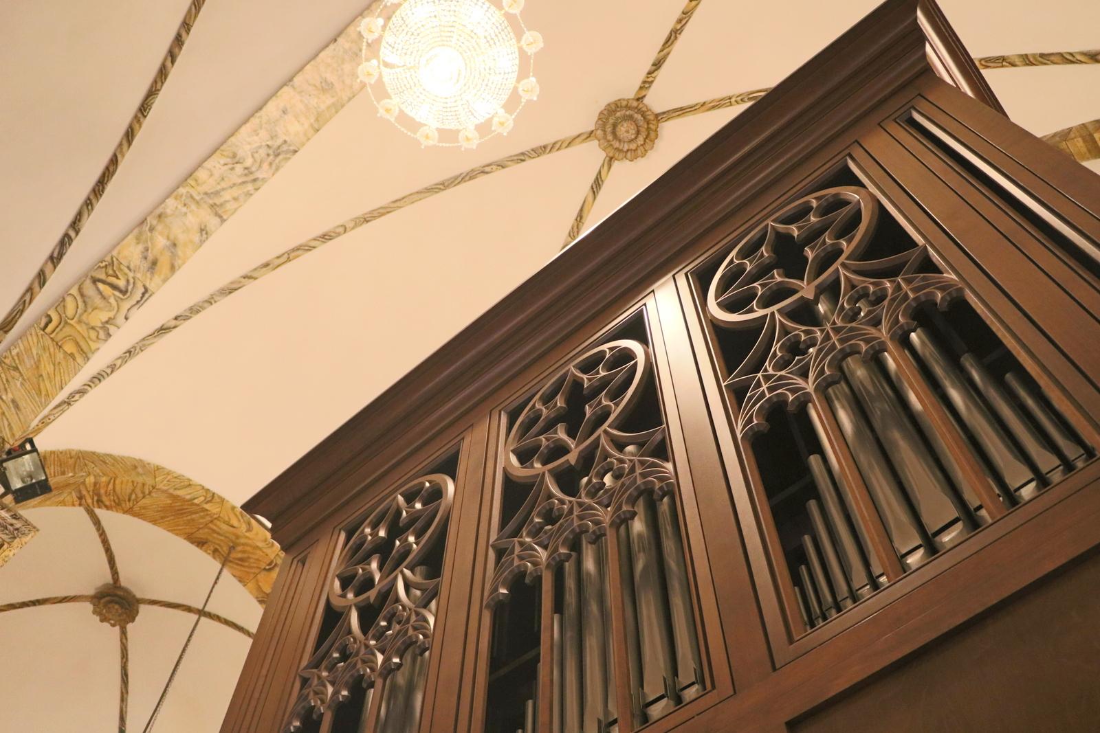 Détail de l'orgue Inspiration installé à l'église de l'Est (Wangfujing) à Beijing