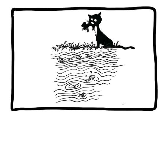 Verspeisen die Maus niemals neben dem Wasser, weil ...