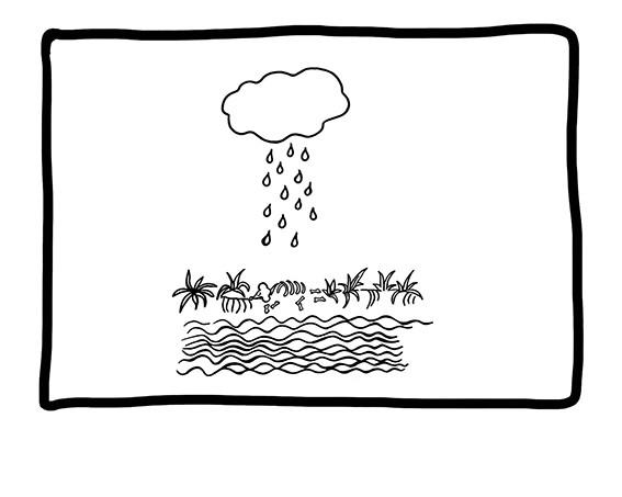 ... der Regen die Reste in das Wasser spülen würde.