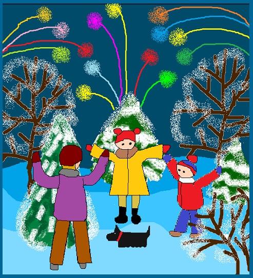 II место. Новый год уже пришел! Мартынова Анна, 3 класс  (MS Paint)