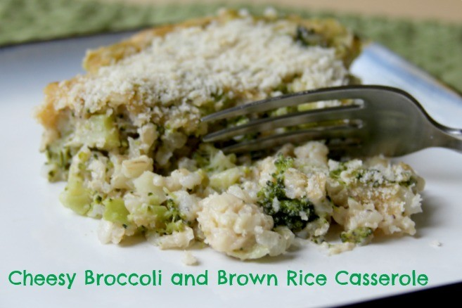 homemade broccoli cheese casserole with brown rice.  Simple, healthy comfort food.  Perfect vegetarian entree or veggie side dish!  www.homemadenutrition.com