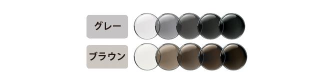 目に見える眩しい光に反応する「エクストラアクティブ」カラーはグレーとブラウンの2色から選べます