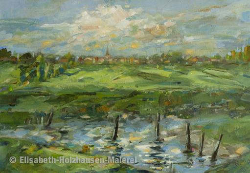 """Titel:""""Blick auf Wedel"""", Sperrwerk Wedele Au, Größe: 21 cm x 30 cm, Acrylmalerei auf MDF"""